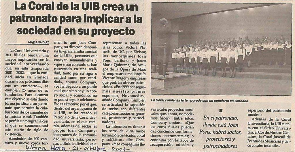 40 ANYS DE CORAL UNIVERSITÀRIA / CORAL UNIVERSITAT DE LES ILLES BALEARS (CUIB) (II)